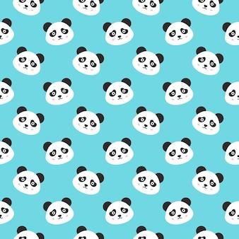 Uśmiechnięta panda twarze wzór. ilustracja wektorowa ładny głowy zwierząt.