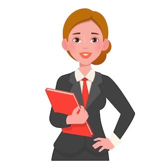 Uśmiechnięta piękna kobieta w garniturze gospodarstwa książki.