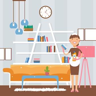 Uśmiechnięta pokojówka w czystym mieszkaniu