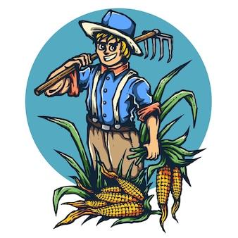 Uśmiechnięta rolnik kukurydzy