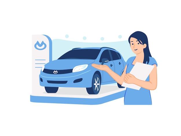 Uśmiechnięta sprzedawczyni samochodów promująca sprzedaż samochodów promująca zupełnie nowy samochód na wystawie samochodów ilustracja koncepcja salonu samochodowego