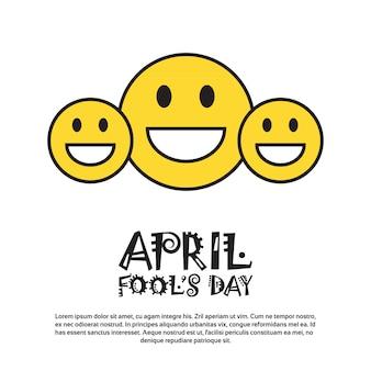 Uśmiechnięta twarz pierwszy kwietnia fool day happy holiday greeting card