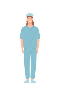 Uśmiechnięta żeńska pielęgniarki kliniki pracownika pozycja odizolowywająca na białym tle. szczęśliwy kreskówki kobiety lekarki lekarz pozuje płaską ilustrację. personel medyczny w mundurze