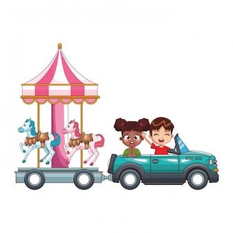 Uśmiechnięte Dzieci Jazdy Samochodem Premium Wektorów