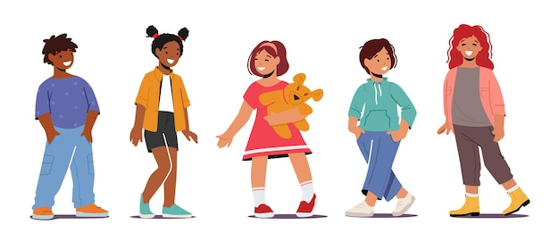 Uśmiechnięte dzieci, wielorasowe chłopcy i dziewczęta małe dzieci na sobie modne ubrania. uśmiech dzieci, pozytywne emocje, przyjaźń na białym tle. ilustracja wektorowa kreskówka ludzie