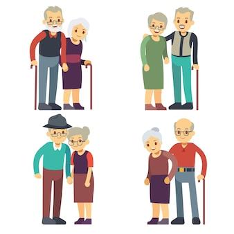 Uśmiechnięte i szczęśliwe stare pary. starsze rodziny kreskówek wektor zestaw. ilustracja dziadek i babcia para, kobieta i mężczyzna w podeszłym wieku