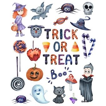 Uśmiechnięte i zabawne ilustracje akwarela halloween ustawione na imprezę na białym tle