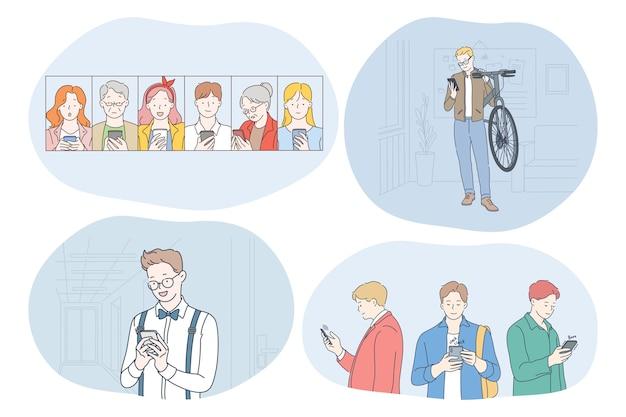 Uśmiechnięte nastolatki i osoby starsze korzystające ze smartfonów