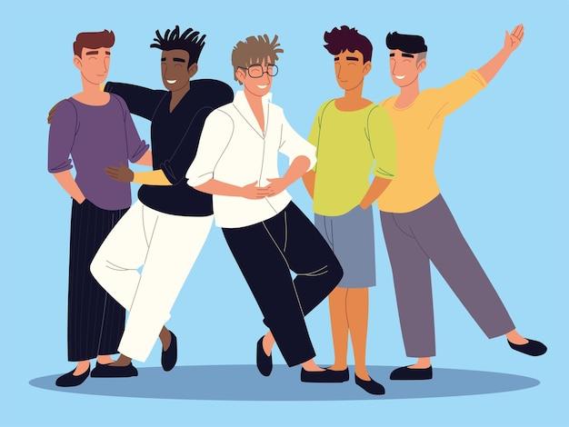 Uśmiechnięte postacie młodych mężczyzn stojących na niebieskim tle ilustracji