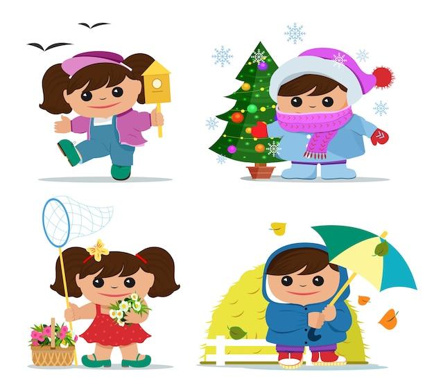Uśmiechnięte śmieszne dziewczyny w letnie, wiosenne, jesienne i zimowe ubrania.
