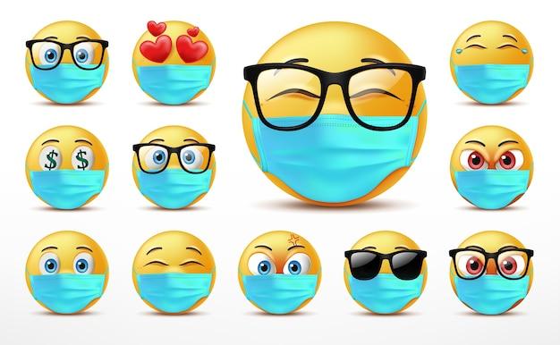 Uśmiechnięte twarze zestaw znaków emotikonów, mimika uroczych żółtych twarzy pokrytych maską medyczną.