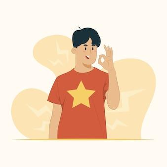 Uśmiechnięte zatwierdzenie ok zgadza się koncepcja gestu pomyślnego wyrażenia