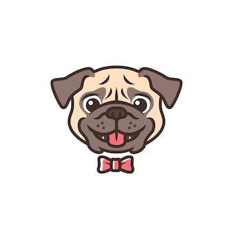 Uśmiechniętego mopsa psa uśmiechu kreskówki loga maskotki wektorowy charakter