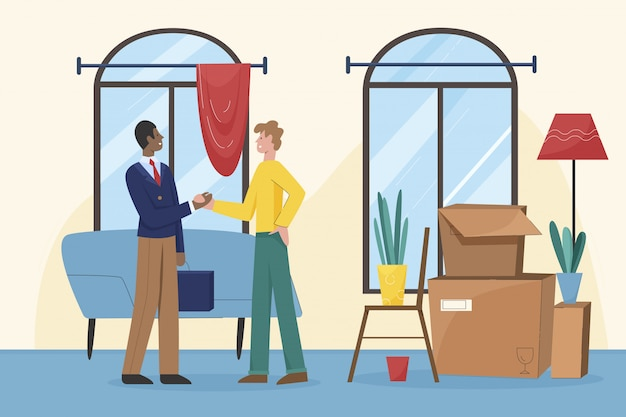Uśmiechnięty agent nieruchomości uścisnąć dłoń zadowolonego klienta.