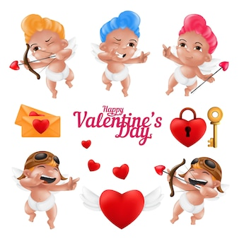 Uśmiechnięty amorek i śliczny aniołek w zestawie pieluch. happy valentine's day zabawna kolekcja maskotek aniołka w różnych pozach