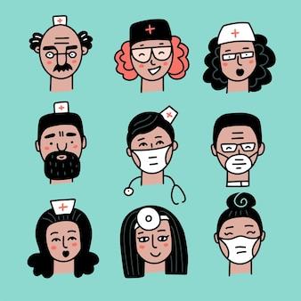 Uśmiechnięty awatar personelu medycznego na białym tle szpitalnych chirurgów, pielęgniarek i innych praktyków medycyny vect ...
