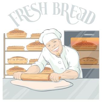 Uśmiechnięty baker rolling pastry illustration