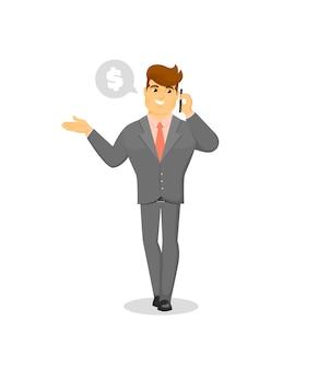 Uśmiechnięty biznesmen mówi na telefon