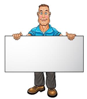 Uśmiechnięty biznesmen trzyma biały pusty sztandar. ilustracja wektorowa