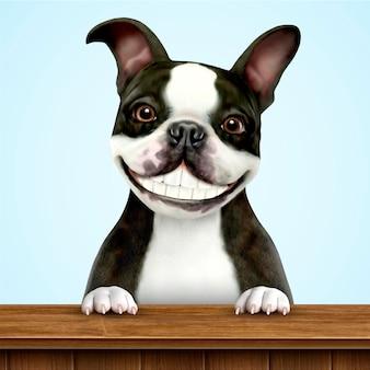 Uśmiechnięty boston terrier w czerni i bieli stojącej na drewnianym stole w ilustracji 3d