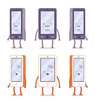 Uśmiechnięty chłopiec i dziewczynka smartfonów z różnych stron