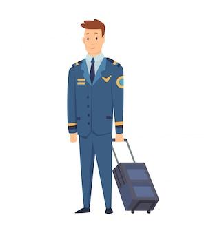 Uśmiechnięty cywilny pilot samolotu, kapitan załogi, lotnik lub lotnik ubrany w mundur z walizką.