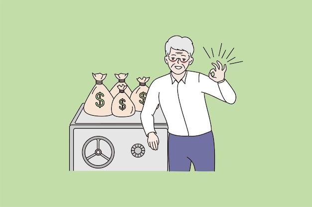 Uśmiechnięty dojrzały mężczyzna poleca oszczędzanie lub inwestycję