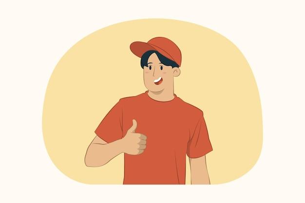 Uśmiechnięty dostawy młody człowiek pokazuje kciuk koncepcji