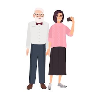 Uśmiechnięty dziadek i wnuczka stojąc razem i biorąc selfie. ładny zabawny starszy mężczyzna i młoda dziewczyna robienie zdjęć na smartfonie. kolorowa ilustracja w stylu cartoon płaski.