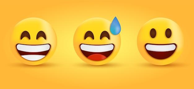 Uśmiechnięty emoji z uśmiechniętymi oczami śmiech emotikon