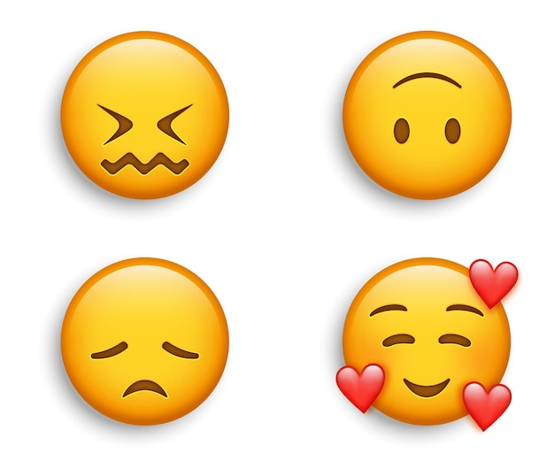 Uśmiechnięty emotikon z sercami, zmieszaną twarzą z drżącymi ustami i smutną emotikonką rozczarowania