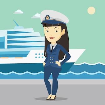 Uśmiechnięty kapitan statku w mundurze w porcie.
