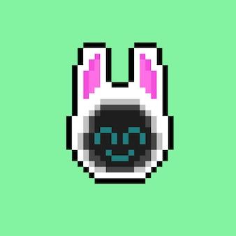 Uśmiechnięty kaptur z królika w stylu pixel art