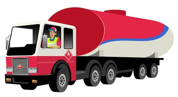 Uśmiechnięty kierowca ciężarówki jazdy cysterny z gazem