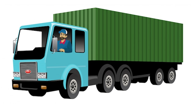 Uśmiechnięty kierowca ciężarówki jedzie dużą ładunek ciężarówkę
