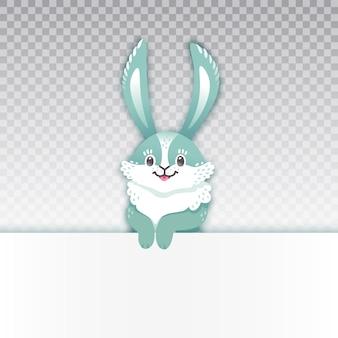 Uśmiechnięty królik kreskówka. śmieszny królik. słodki zając.