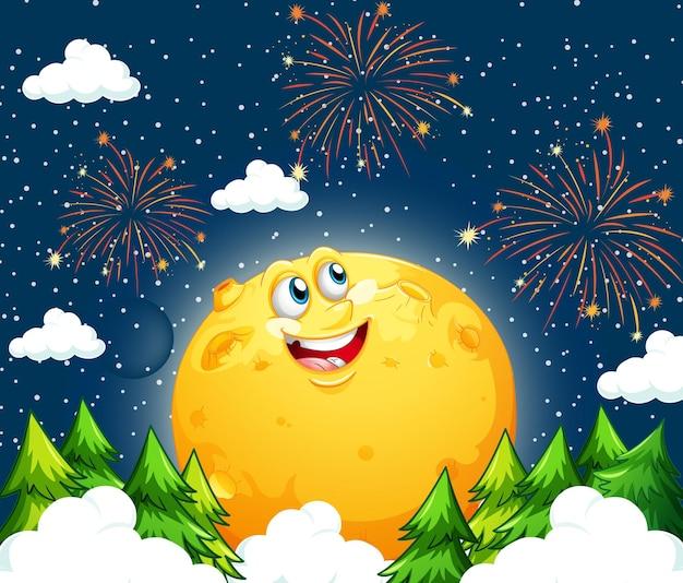 Uśmiechnięty księżyc na niebie w nocy z wieloma fajerwerkami