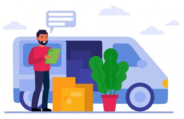Uśmiechnięty kurier stoi blisko samochodu dostawczego i pudeł