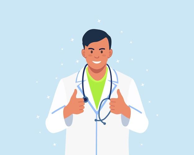 Uśmiechnięty lekarz ze stetoskopem pokazujący kciuk w górę