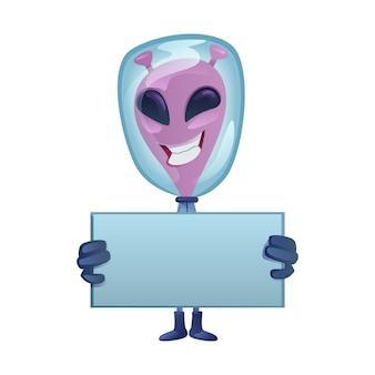 Uśmiechnięty marsjanin z pustym sztandarem ilustracja kreskówka płaska konstrukcja