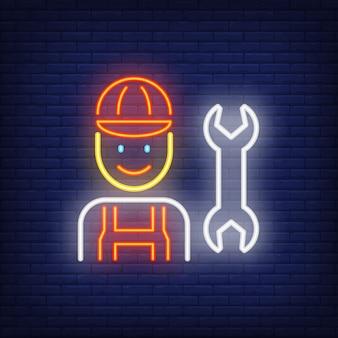 Uśmiechnięty mechanika neonowy znak