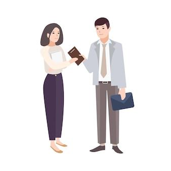 Uśmiechnięty mężczyzna daje notatnik do kobiety. para pracowników biurowych, menedżerów, kolegów lub partnerów biznesowych na białym tle. ilustracja wektorowa kolorowy w stylu nowoczesnego kreskówki płaskiej.