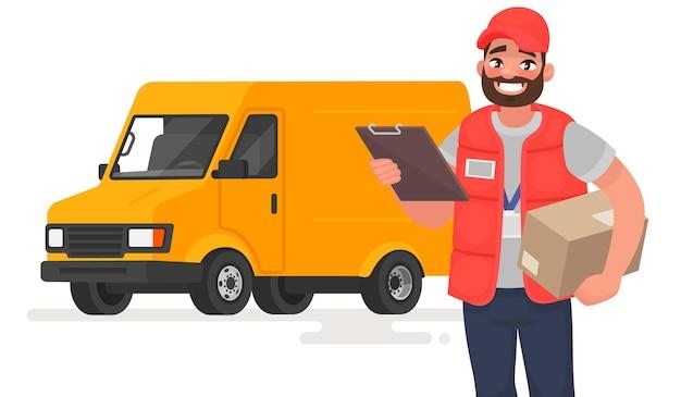 Uśmiechnięty mężczyzna kurier z paczką na ciężarówce. w stylu kreskówki
