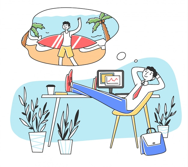 Uśmiechnięty mężczyzna marzy o urlopowej ilustraci przy pracą