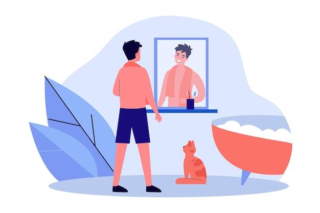 Uśmiechnięty mężczyzna patrząc w lustro w łazience. męska postać przygotowuje się do kąpieli, pienista wanna, kot na płaskiej ilustracji wektorowych podłogi. codzienna rutyna, koncepcja higieny banera, projektowanie stron internetowych