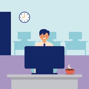 Uśmiechnięty mężczyzna pracująca biurowa codzienna aktywność