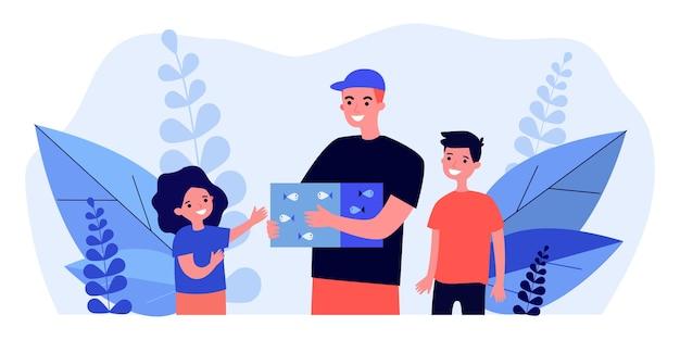 Uśmiechnięty mężczyzna trzyma pudełko z rybami i otoczony dziećmi. dziewczyna, chłopiec, ilustracja do akwarium. zabawa i koncepcja zwierząt domowych na baner, stronę internetową lub stronę docelową