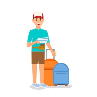Uśmiechnięty młody człowiek nosi czapkę z biletem i torby