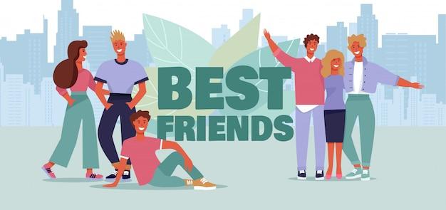 Uśmiechnięty, młody, przytulanie przyjaciół. najlepsi przyjaciele