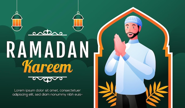 Uśmiechnięty muzułmanin powitanie ramadan kareem